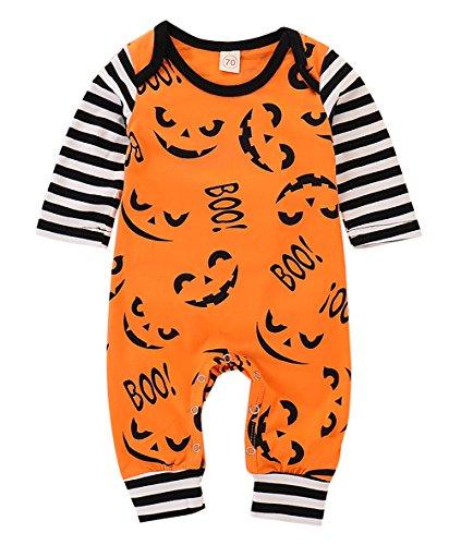 SEVEN YOUNG Cute Infant Baby Boy Girl Long Sleeve Romper Halloween Boo Jumpsuit Stripe Devil Bodysuit Outfit Orange -