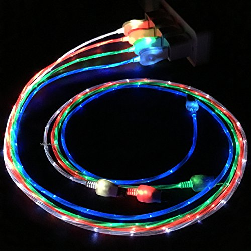 Flowing LED Glow in the Dark Light Up Visible Charging Cable Micro USB Samsung Galaxy S3 S4 S5 Note HTC (Green)