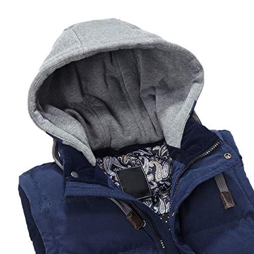 Fermeture Capuche Glissière Gilets En Style À Veste Bleu Vestes Midriff Hiver Manteau Coton Automne Bas Simple Sans Gilet qnR04w