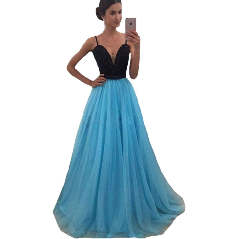 bluee Liaoye Spaghetti Straps Aline Long Prom Dresses for Women Evening Dresses Bridesmaid Wedding Guest Gowns