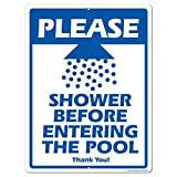 VictoryStore Yard Sign Outdoor Lawn Decorations: Please Shower Before Entering the Pool Aluminum Sign, Size 12 inch x 18 inch