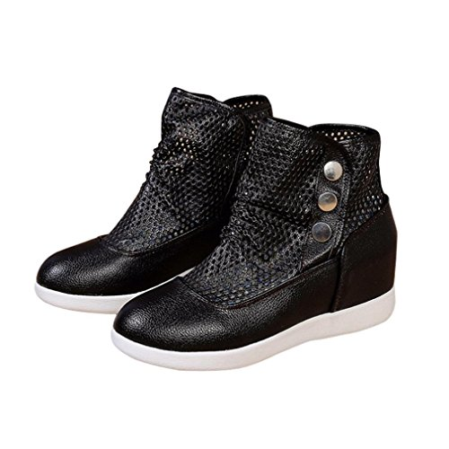 Fheaven Dames Hol Ademende Laarzen Casual Slip Op Lichtgewicht Sneakers Platte Schoenen Zwart