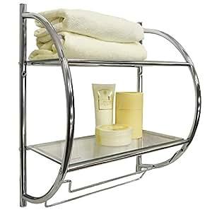 CURVE - Estantería de pared para baño con toallero - color plateado