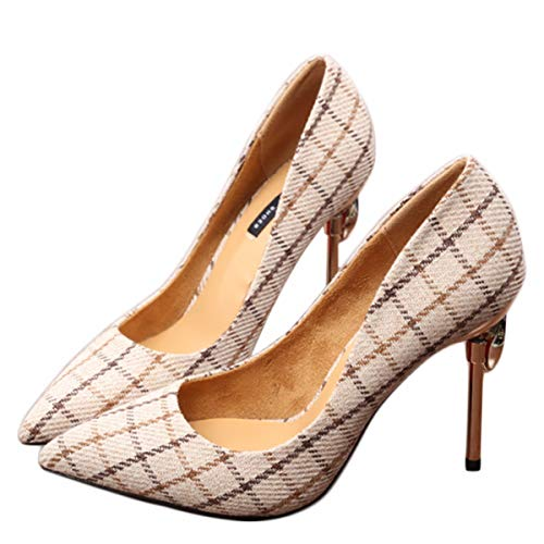 Shallow KPHY Shoe Seven Grid And High 10Cm Thin Drill Sharp Gray Touch Mouth Multi Thirty Single Pointed Heel qrqw5O4