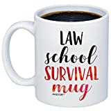 MyCozyCups Law Student Gifts - Law School Survival Mug - Funny Lawyer Grad School Degree 11oz Coffee Cup For Women, Men, Best Friend, Son, Daughter - Graduate School Graduation Present For Him, Her
