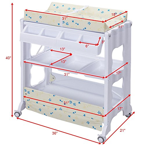 Costzon Baby Bath and Changing Table, Diaper Organizer for Infant with Tube & Cushion (Beige) by Costzon (Image #6)