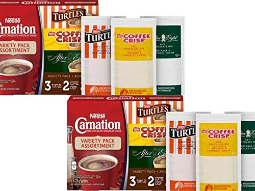 Carnation Hot Chocolate Variety Pack - 2 boxes - Turtles, Coffee Crisp, and After Eight by Carnation