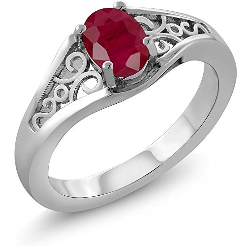 0.60 Ct Oval Red Ruby 925 Sterling Silver Women's Solitaire Ring (Ring Size (Solid Sterling Silver Heart Solitaire)