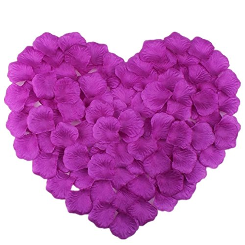Vivianbuy 1000 PCS Artificial Silk Flower Plum Rose Petals for Wedding Party Bridal Decoration