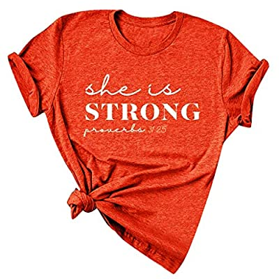 womens tops she is Strong Proverbs T Shirt and Blouses Plus Size Summer Short Sleeve Casual Letter Print Top Tees at  Women's Clothing store