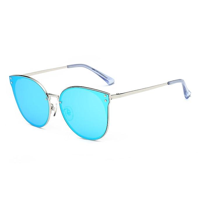 5719b0127e3 DONNA Trendy Oversized Mirrored Sunglasses Cat Eye Frame Circle Lens Hippie  Hipster Style D09(Blue