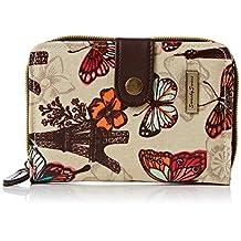 Noel Paris Butterfly Floral Print in Small Folding Womens Wallet Purse Beige - SWANKYSWANS