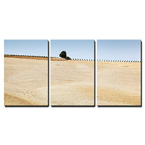 """wall26 - 3 Piece Canvas Wall Art - Tuscan Country Near Montalcino, Tuscany, Italy - Modern Home Art Stretched and Framed Ready to Hang - 16""""x24""""x3 Panels"""