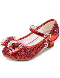 UBELLA Girl's Butterfly Mary Jane Wedding Party Shoes Glitter Bridesmaids Low Heels Princess Dress Shoes