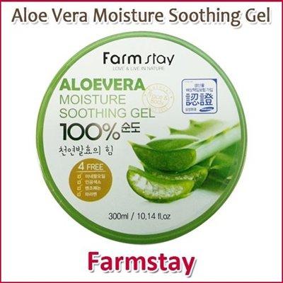 Farm Stay Aloe Vera Moisture Soothing Gel 300ml / Aloe Vera 100% /Moisturizing/Korea Cosmetics