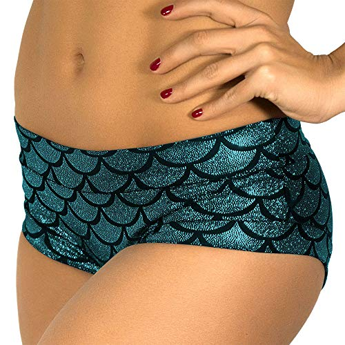 JFEELE Mermaid Shorts Women's Fish Scale Shorts - Blue,Size L ()