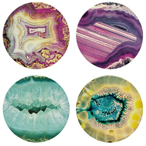 "CoasterStone Absorbent Coasters, ""Multicolored Agates Assorted"" (Set of 4), 4-1/4"", Multicolor"