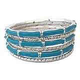 Silver Tone Beveled Cut Aqua Blue Bamboo Look Enamel 6 Stacking Bangle Bracelet Set