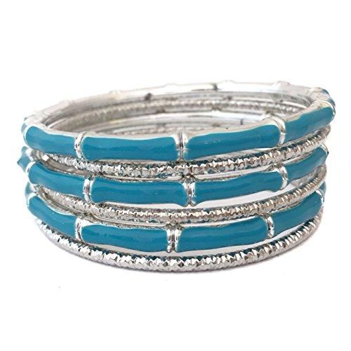Silver Tone Beveled Cut Aqua Blue Bamboo Look Enamel 6 Stacking Bangle Bracelet Set (Silver Bracelet Bamboo Bangle)