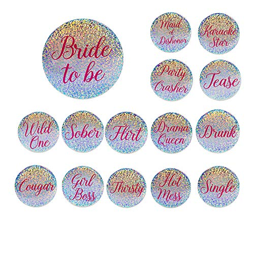 Buttons Party Bachelorette (15-Pack Bridal Party Pins - Funny Bachelorette Party Supplies, Bride to Be and Bridesmaids Pinback Buttons, Holographic Glitter Bachelorette Pins, Fun Bridal Gifts and Party Favors)