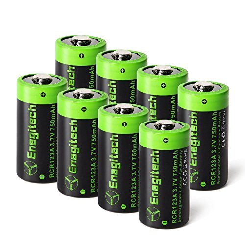 Arlo Batteries Rechargeable, Enegitech 8 Pack CR123A Rechargeable Batteries 3.7V 750mAh RCR123A 16340 Li-ion Battery for Arlo Cameras, Flashlight, Security (750 Mah Lithium Battery)
