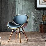 Folk Retro Style DSW Eiffel negro cuero sintético Oficina comedor silla patas de madera acabado en nogal