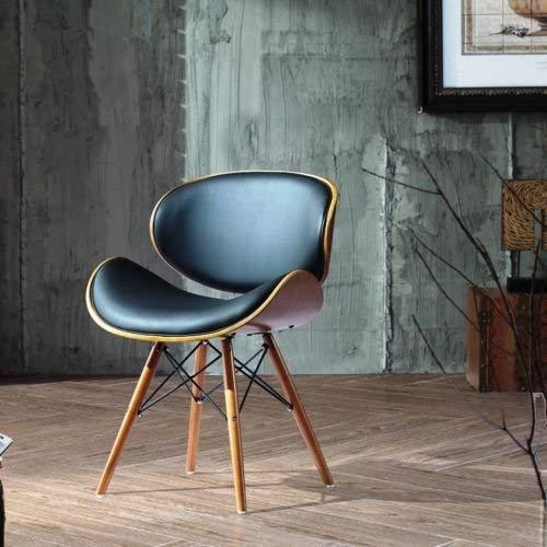Folk Retro Style DSW Eiffel negro cuero sintetico Oficina comedor silla patas de madera acabado en nogal