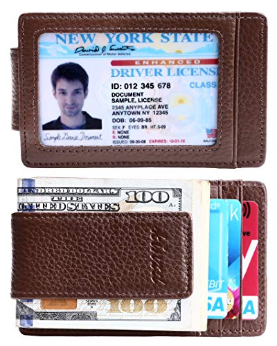 Money Clip, Front Pocket Wallet, Leather RFID Blocking Strong Magnet thin Wallet (Spacious Front Pocket)