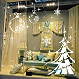 Dnven (48''w X 32''h) Ornaments Christmas Shining Balls Trees with Snowflakes Decorative Wall Stickers Wall Decals Door Window Stickers Glass Decals for Kids Rooms Nursery Living Rooms Bedrooms