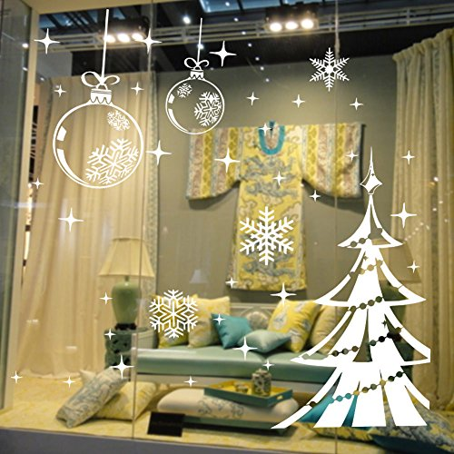 Dnven (48''w X 32''h) Ornaments Christmas Shining Balls Trees with Snowflakes Decorative Wall Stickers Wall Decals Door Window Stickers Glass Decals for Kids Rooms Nursery Living Rooms Bedrooms by DNVEN