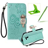 Strap Leather Case for Samsung Galaxy A8 2018,Diamond Green Wallet Flip Case for Samsung Galaxy A8 2018,Herzzer Stylish 3D Owl Magnetic Closure Cute Owl Printed Stand Shockproof Card Slots Folio PU Leather Back Case with Soft Silicone