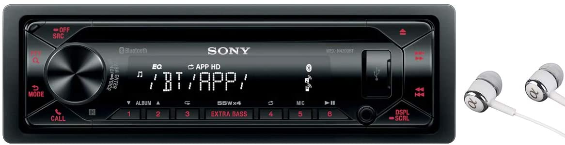 Sony MEX-N4300BT Built-in Dual Bluetooth Voice Command CD/MP3 AM/FM Radio Front USB AUX Pandora Spotify iHeartRadio iPod / iPhone Siri and Android Controls Car Stereo Receiver with ALPHASONIK EARBUDS