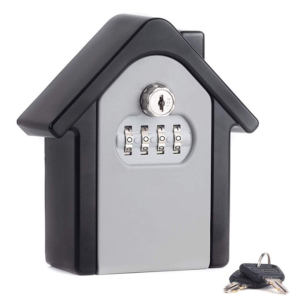 MLL Key Lock Box Wall Mounted Lock Box with 4-Digit Combination Resettable Code While Safely Outdoors Hiding Your Keys,Gray