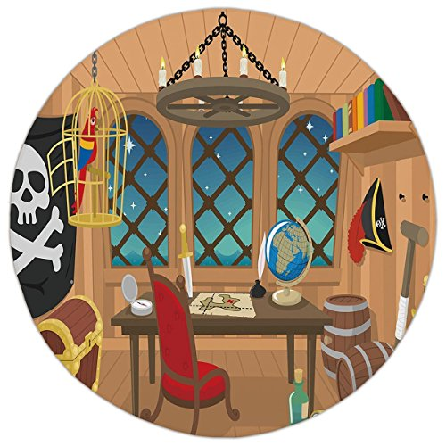 Round Area Rug Mat Rug,Pirate,Cabin of a Pirate Captain Parrot in Cage Jolly Roger Treasure Chest Liquor Barrels,Multicolor,Home Decor Mat with Non Slip Backing