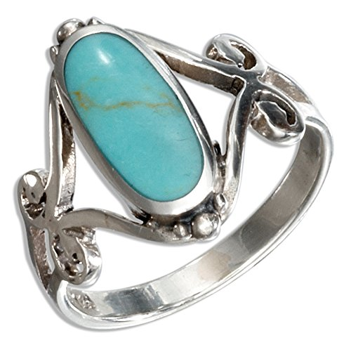 Sterling Silver Oval Simulated Turquoise Ring with Open Scroll Designs (size -