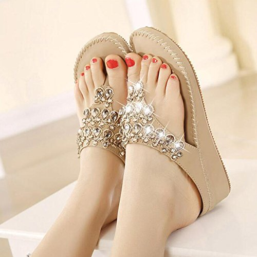 Mujeres Rhinestones Bohemias Apricot del De Toe Sandalias Beach Shoes Las Tangas Peep Zapatillas Moda Clip Verano nX0qwFxT