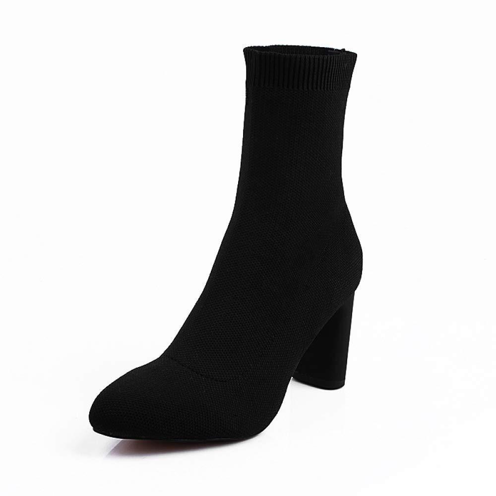 Eeayyygch Nouvelle personnalité épaisse de Bottes d'automne Chaussures épaisse avec des Chaussures d'automne de Femmes élégantes Talons Pointus (3-5cm), Chaussures de Dames de Mode Simples (coloré : Noir, Taille : 39)B07JVNCBN1Parent e6311a