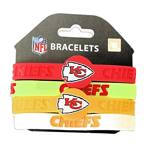 aminco NFL Kansas City Chiefs Silicone Bracelets, 4-Pack