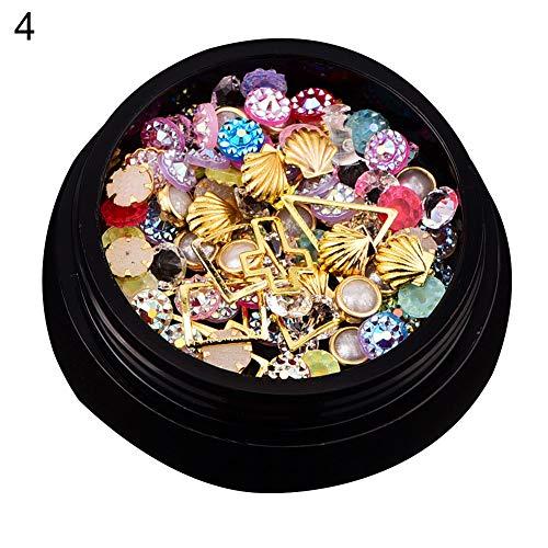 zsjhtc Nail Art Tips 1 Box Mixed Nail Art Beauty Seashell Glitter Gems Rhinestones DIY Finger Decor 4# ()