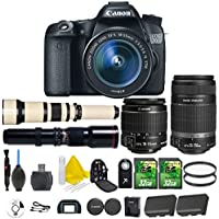 Canon EOS 70D 20.2 MP Digital SLR Camera with Dual Pixel CMOS Full HD 1080p + Canon EF-S 18-55mm IS STM + Canon EF-S 55-250mm IS STM + 500mm Preset Telephoto + 650-1300mm Lens + 2pc 32GB Memory Cards At A Glance Review Image