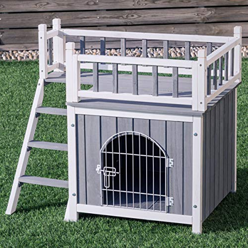 Tangkula Pet Dog House, Wooden Outdoor & Indoor Dog/Cat Puppy House Room with a View, Pet Room with Stairs, Raised Roof and Balcony Bed, Wooden Dog House (M)