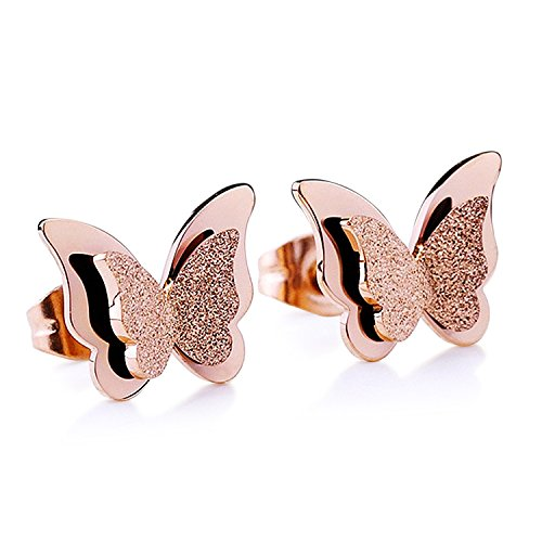 Stainless Steel Butterfly Stud Earrings Frosted 18k Rose Gold Jewelry for Women Girls (Rose gold)