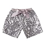 Messy Code Fashion Hot Sale Sequin Shorts for Girls Size XXXL(5-6Y),Grey