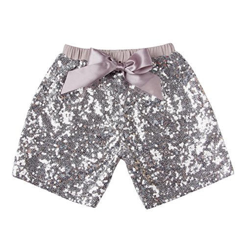 Messy Code Baby Girls Shorts Toddlers Short Sequin Pants Newborn Sparkle Shorts with Bow , Silver, M(1-2Y) ()