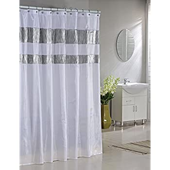 30OFF CARO Home Fabric Shower Curtain Wide Light Gray White And Metallic Silver Grey