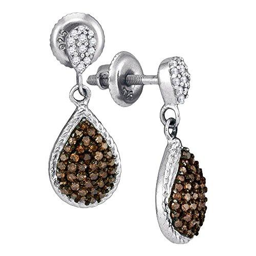 Brown Diamond Teardrop Dangle Earrings 10k White Gold Pear Drops Hanging Style Chocolate Fancy 1/2 Cttw ()