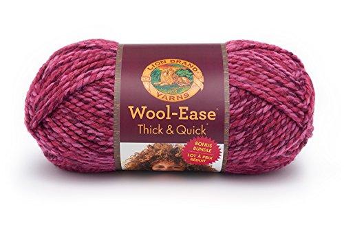 Lion Brand Yarn 641-525 Wool-Ease Thick & Quick Bonus Bundle Yarn, Wild Strawberry