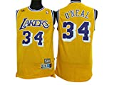 Lakers 34 Shaquille O'Neal Yellow Hardwood Classics Jersey Size-L