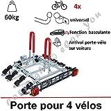 PORTE VELO SUSPENDU SUR ATTELAGE RABATTABLE POUR 4 VELOS | Porte-vélo