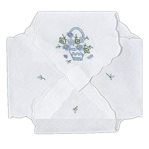 Bread Basket Liners Bun Warmers White Cotton Cloth with Color Basket Embroidery 18 x 18 Inch (Set of 2)